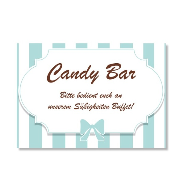 candy bar schild streifen blau hochzeitsdekoration deko f r die kreative hochzeit. Black Bedroom Furniture Sets. Home Design Ideas